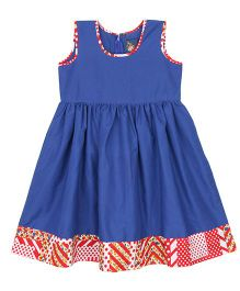 Patch Bunnies Sleeveless Frock Printed Hemline - Blue