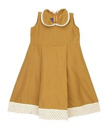 Patch Bunnies Sleeveless Frock Peter Pan Collar - Beige