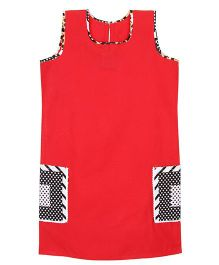 Patch Bunnies Sleeveless Frock Printed Pockets - Red