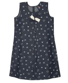 Patch Bunnies Sleeveless Denim Dress Bow Applique - Black