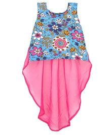 Patch Bunnies Sleeveless Tail Top Floral Print - Pink And Blue