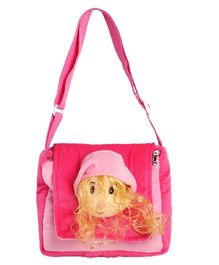 Hello Toys Plush Sling Bag With Doll Face Pink - 8 Inches
