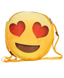Hello Toys Soft Sling Bag Love Smiley Print Yellow - 8 Inches