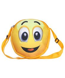 Hello Toys Soft Sling Bag Happy Smiley Print Yellow - 8 Inches
