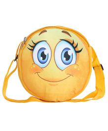 Hello Toys Soft Sling Bag Blushing Smiley Print Yellow - 8 Inches