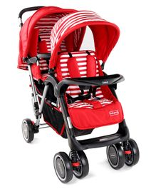 Babyhug Easy Foldable Twin Stroller With Adjustable Leg Rest  - Red