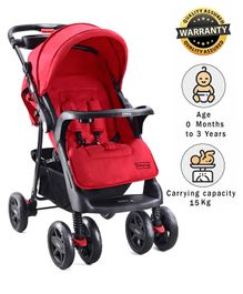 Babyhug Wander Buddy Stroller With Rear Parent Utility Box With Cup Holder - Red