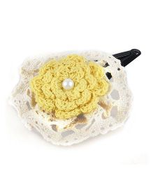 Knotty Ribbons Crochet Flower Hair Clip - Yellow
