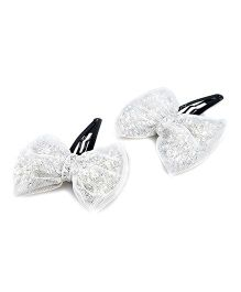 Knotty Ribbons Pair Of Handmade Glitter Bow Hair Clip - Silver