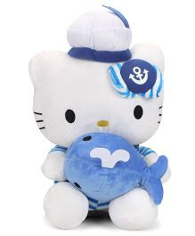 Dimpy Stuff Hello Kitty Sailor Soft Toy White And Blue - Height 36 cm