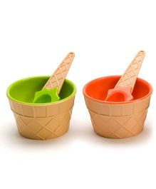 EZ Life Ice Cream Cone Shaped Bowl With Spoons - Pink & Green