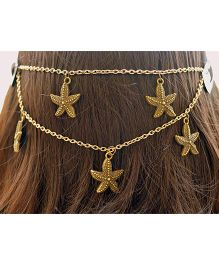 Pretty Ponytails Antique Golden Starfishes Head Chain - Golden