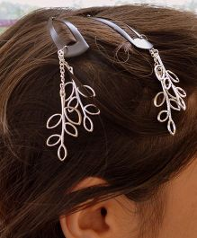 Pretty Ponytails Leaves Stem Dangler Clip - Silver