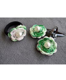 Pretty Ponytails Crocheted With Pearl - Green