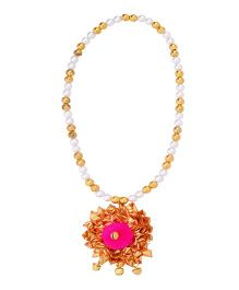 Miss Diva Ethnic Gota Flower Necklace - Pink