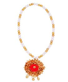 Miss Diva Ethnic Gota Flower Necklace - Red