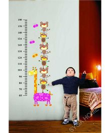 Syga Kids Height Measurement Decals Design Wall Stickers - Multicolour
