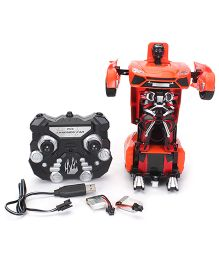 Turboz Remote Controlled Transforming City Car Cum Robot - Red Black