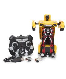 Turboz Remote Controlled Transforming City Car Cum Robot - Yellow