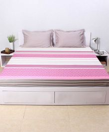 HouseThis The Urban Stripes 1 Double Fitted Bedsheet & 2 Pillow Covers - Purple