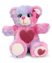 Keel Glitter Gems Bear Soft Toy With Heart Print Multicolor - 16 cm