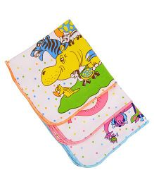 MomToBe Animal Print Napkins Pack Of 3 - White Orange Blue Pink
