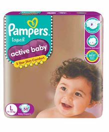 Pampers Active Baby Taped Diapers, Large size diapers, (LG) 50 count, taped style custom fit