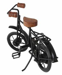 Desi Karigar Decorative Miniature Metal & Wood Bicycle - Black & Brown