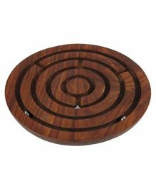Desi Karigar Handcrafted Wooden Board Game Round Labyrinth Diameter 15 cm