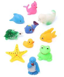 Babyhug Splash Buddies Bath Toys Set Of 10 - Multicolor