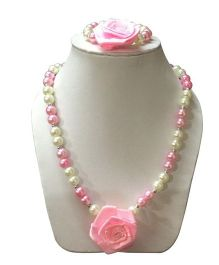 Daizy Flower Girls Jewellery Necklace Bracelet Set- White & Pink