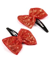 Knotty Ribbons Pair Of Handmade Glitter Bow Hair Clip - Red