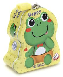 Happy Frog Coin Bank With Lock and Key - Yellow