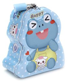 Happy Frog Coin Bank With Lock and Key - Blue