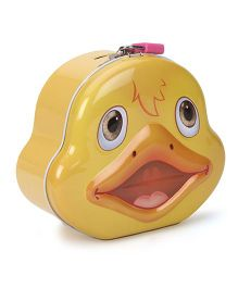 Duck Printed Coin Bank With Lock And Key - Yellow