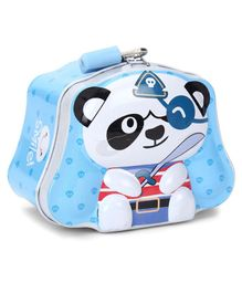 Panda Printed Coin Bank With Lock And Key - Blue