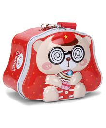 Teddy Printed Coin Bank With Lock And Key - Red