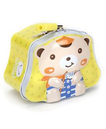 Teddy With Stop Print Piggy Bank - Yellow