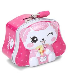 Teddy Printed Coin Bank With Lock And Key - Pink