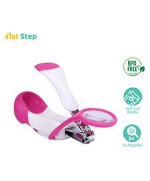 1st Step Easy Grip Baby Nail Clipper With Magnifying Glass - Pink
