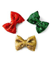 Knotty Ribbons Sequence Bows Alligator Clips - Red Green & Golden