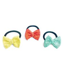 Knotty Ribbons Glitter Bow Hair Ties - Yellow Red & Green