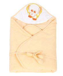 Tinycare Hooded Towel Deluxe Elephant Print - Peach