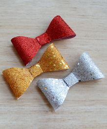 Pretty Ponytails Glitter Bows Hair Clips - Red Gold & Silver