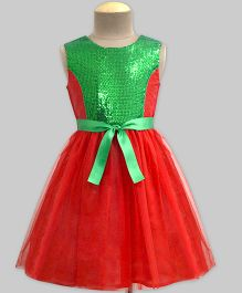 Mistletoe Sequins Princess Line with Tulle Swirl Dress - Red & Green