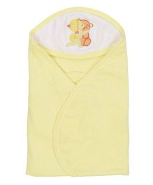 Tinycare Hooded Towel Super Baby Embroidery - Light Yellow