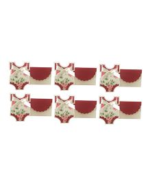 Crack of Dawn Crafts Baby Shower Invitation Vest Pretty Florals  Red - Pack of 6