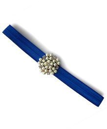 Little Miss Cuttie Elegant Diamond & Pearl Headband - Blue