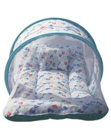 Little Hug Toddler Mattress With Mosquito Net Teddy Print - Blue