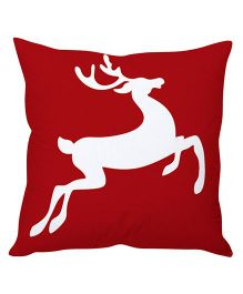 StyBuzz Christmas Reindeer Art Cushion Cover - White And Red